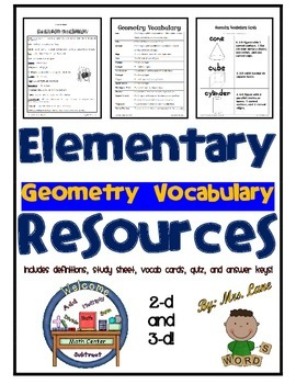 Elementary Geometry Vocabulary Resources