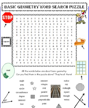 Elementary Geometry Word Search Puzzle (Basic)
