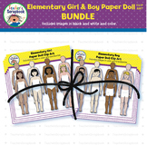 Elementary Girl & Boy Paper Doll Clip Art BUNDLE