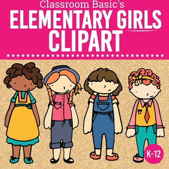 Elementary Girls Clip Art - Commercial & Classroom Use
