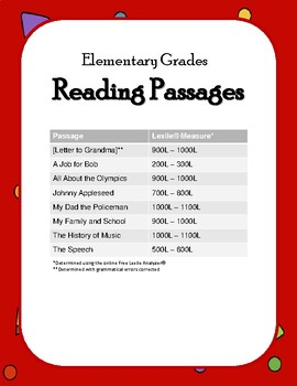 Elementary Grades Reading Passages