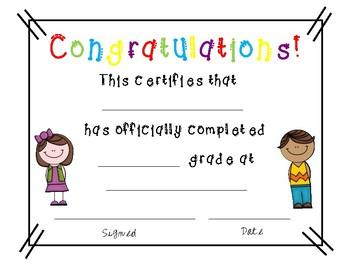 Elementary Graduation Certificates
