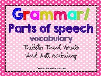 Elementary Grammar/ Parts of Speech Vocabulary cards