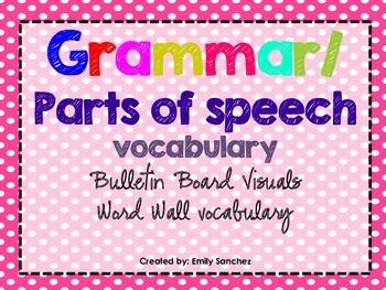 Elementary Grammar/ Parts of Speech Vocabulary cards