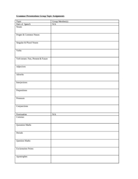 Elementary Grammar Project Directions & Rubric