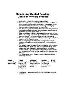 Elementary Guided Reading Question-Writing Process