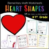 Elementary HEART Shape Worksheets