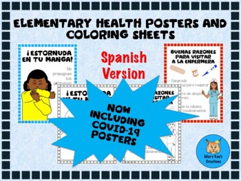 Elementary Health Posters, Clip Art, and Coloring Sheets in Spanish
