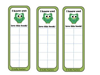 Elementary Incentive bookmarks in frog,owl and Ice cream