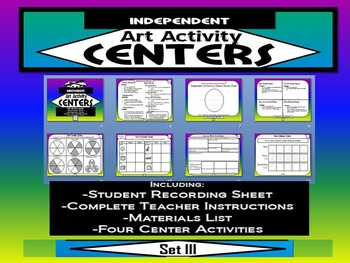 Elementary Independent Art Activity Centers Set 3