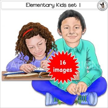 Elementary Kids Clip Art Realistic lower grade children in school Set 1