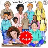 Elementary Kids Clip Art Realistic lower grade children in