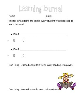 Elementary Learning Journal Page