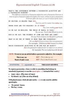 A1.06 - Possessives & Apostrophe 'S