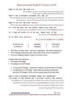 A1.09 - Prepositions of Place