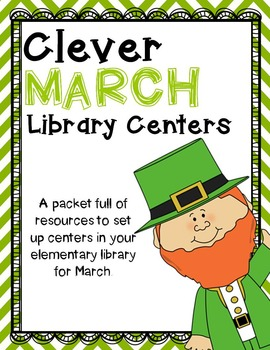 Elementary Library Centers Clever March themed centers