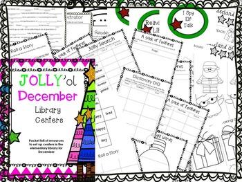 Elementary Library Centers Jolly ol December theme