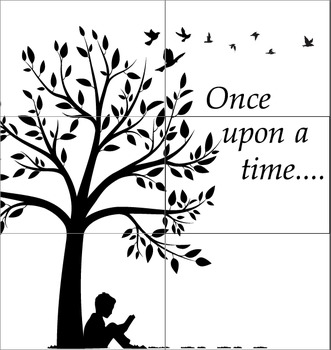 """Elementary Library Display cut out (6*A3): Once upon a time (35.07"""" *33.08"""")"""