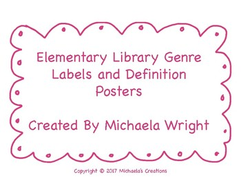 Elementary Library Genre Labels and Definition Posters