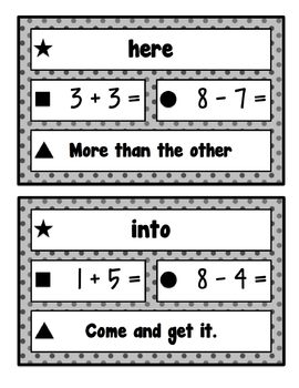 Elementary Line-Up Cards (Sight Words, Math Facts, Fluency) (Basic: Grayscale)