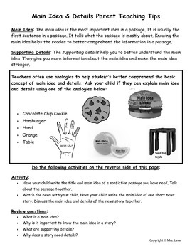 Elementary Main Idea Parent Handouts (Help At Home)