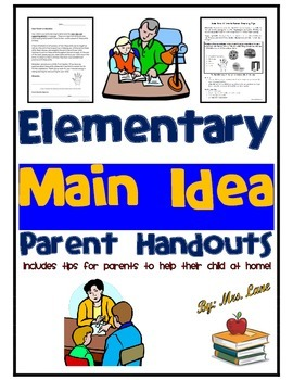 Elementary Main Idea Parent Handouts (Help At Home)