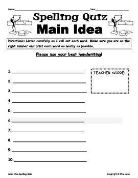 Elementary Main Idea Spelling Resources