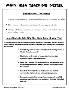 Elementary Main Idea Teaching Tips