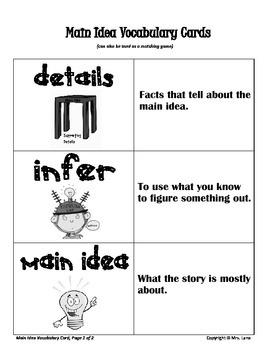 Elementary Main Idea Vocabulary Resources