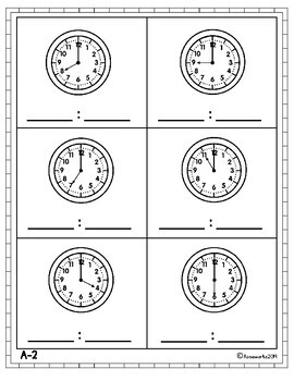 Elementary Math Assessments for IEPs or RTI: Telling Time to the Nearest Hour