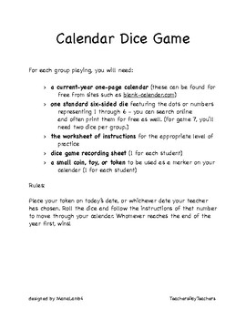 Elementary Math Dice Games - Calendar and Telling Time (Clock)