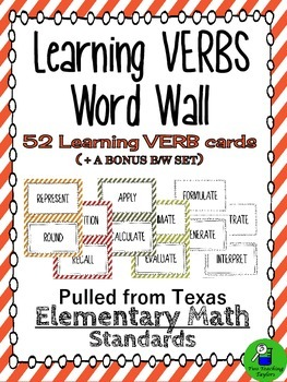 Elementary Math Learning VERBS for Word Walls