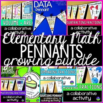 Elementary Math Pennants Growing Bundle