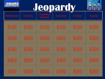 Elementary Math Review Jeopardy Game (Powerpoint)