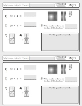 Daily Spiral Math Review: Grade 4 and 5 Warm Up (85 Days)