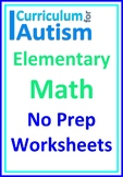 Elementary Math Distance Home Learning Packet Autism