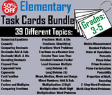 Math Task Cards 3rd Grade to 5th Bundle: Factors, Place Value, Rounding, etc.