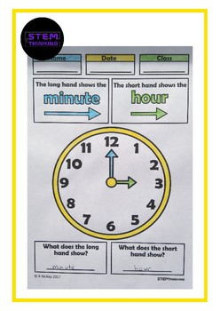 Elementary Math Telling the Time Color and Learn Activity
