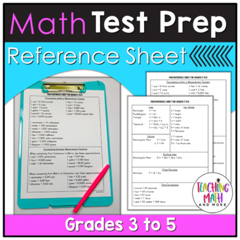 Elementary Math Test Prep Reference Sheet - Grades 3 to 5