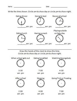 Elementary Math - Time am or pm #1