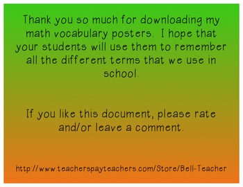Elementary Math Vocab Posters