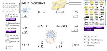 Elementary Math Worksheet Generator/Graphics Template Creator
