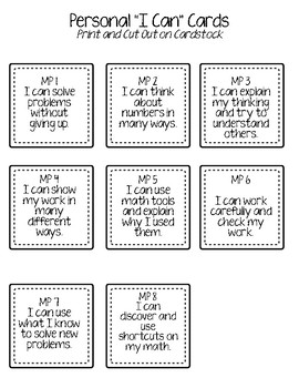"Elementary Mathematical Practices ""I Can"" Statements: Cards & Trackers MAFS/CCSS"