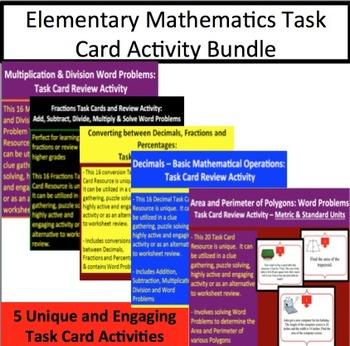 Elementary Mathematics Task Card Activity Bundle - 5 Unique Task Card Activites
