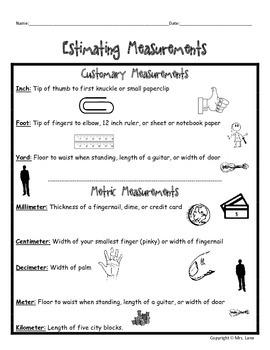 Elementary Measurement Journal Handouts