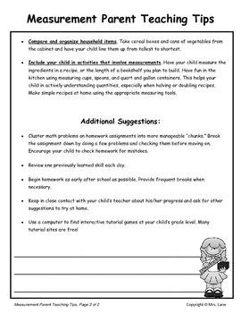 Elementary Measurement Parent Handouts (Help At Home)