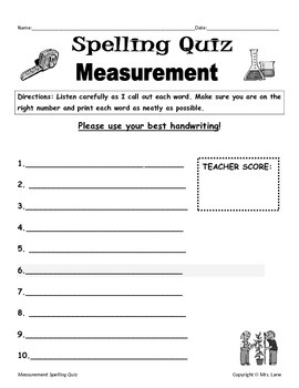 Elementary Measurement Spelling Resources