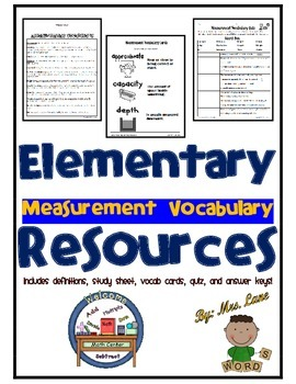 Elementary Measurement Vocabulary Resources