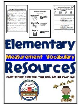 Elementary Measurement Vocabulary Resources