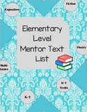 Elementary Mentor Text List for Teaching Writing + 6th-8th Grade!